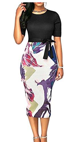 Ainr Genou Robe De Soirée Crayon D'affaires Bodycon Longueur Des Femmes Robes D'été Noir
