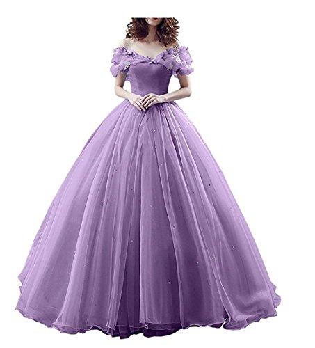 Chupeng Women's Princess Costume Butterfly Off Shoulder Cinderella Prom Dress Long Tulle Quinceanera Ball Gown lilac 8 -