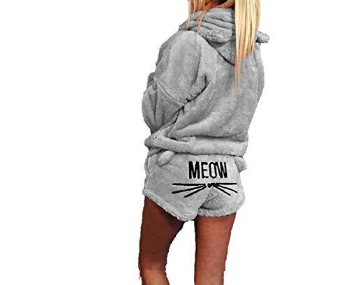 Pajamas Women Homewear Sleepwear Pets Cartoon Cat Hot Pajamas Women,Gray,XL
