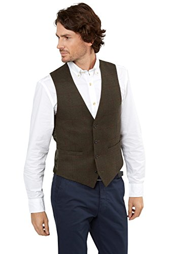 [Moss 1851 Men's Tailored Fit Olive Wine Window Pane Suit Vest Waistcoat 44R Khaki] (Coat Olive Windowpane)