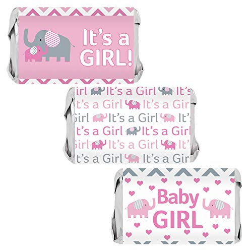 - Pink and Gray Elephant Girl Baby Shower Mini Candy Bar Wrappers | 45 Stickers