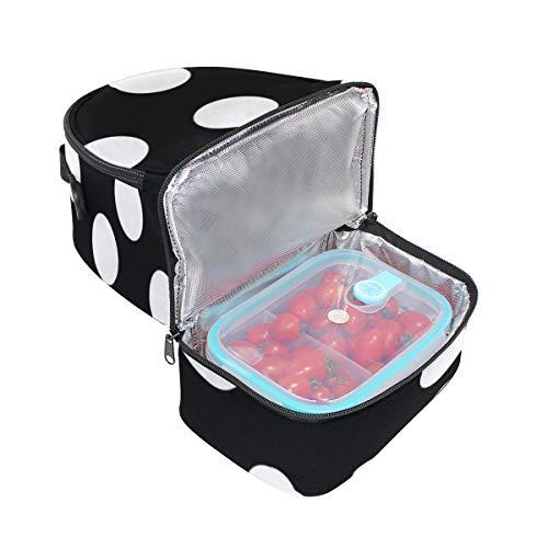 bandoulière Folpply à Sac Cooler isotherme Blanc Polka Pincnic pour Box l'école avec Noir Lunch réglable Dot Tote ZZPwrq