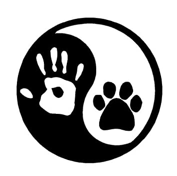 amazon com sassy stickers ying yang hand and dog paw print 5 75