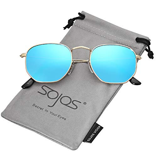 SOJOS Small Square Polarized Sunglasses for Men and Women Polygon Mirrored Lens SJ1072 with Gold Frame/Blue Mirrored Polarized Lens ()
