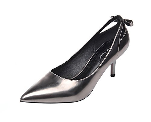 Freerun Women's Slip-ons Pointed Toe Low Cut Stiletto Pumps with Bowknot (5 B(M)US,silver) - Razor Dirt Bike 50