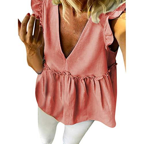 Allywit- Women V Neck Loose Ruffle Hem Short Sleeve High Low Peplum Blouse Top Pink