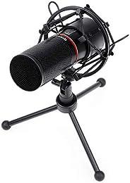 Microfone Gamer Profissional Redragon Blazar Conector Padrão USB Com Tripé e Pop Filter - GM300