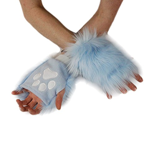 Pawstar Color Theme Pawlets Fingerless Glove Paws Furry Cat Fox Cosplay - Light Blue ()