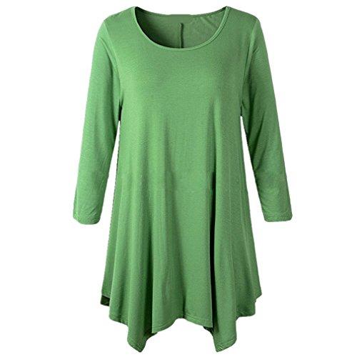 遺産チョークのためにHonghu女性プラスサイズ不規則な裾のロングスリーブルーズシャツチュニックトップス グリーン L
