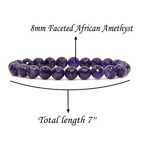 Natural Faceted African Amethyst Handmade Gemstone 8mm Round Beads Elastic Bracelet 7