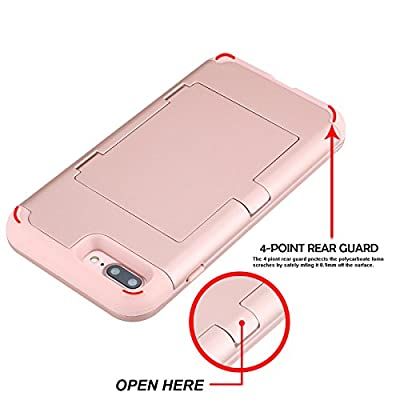 iPhone 7 Plus Case, iPhone 7 Plus Mirror Case,Hidden Back Mirror Wallet Case for Girls Women with Card Holder Impact Shock-Absorbent Case Cover for Apple iPhone 7 Plus. (Rose Gold)