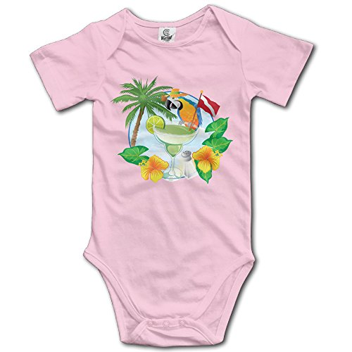 Pink Baby's I Love Hawaii And Parrot With The Margarita Sleveless Romper Jumpsuit