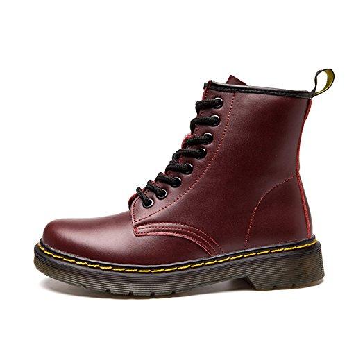 boots Fourrées Impermeables 2 Cuir Chaussures Doublure Plates Femme Sans Bottes Lacets Chaudes rouge Ukstore Botte Hiver Martin bottines homme classiques zzvZqS