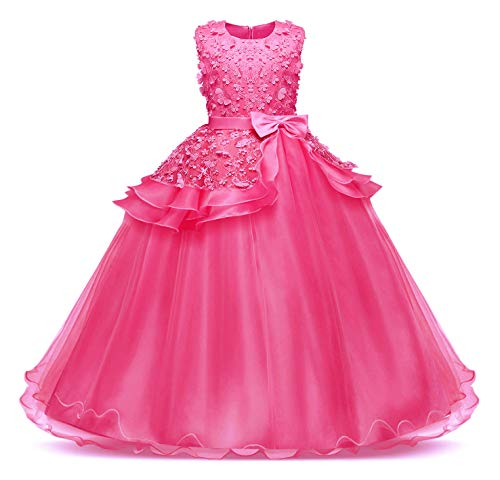 (Bestfive Girls Formal Dress for Wedding Party Birthday Prom Ball Gown Rose Size 12)