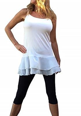 Chiffon Lace Top Extender, Colorado Off White Chick Chiffon Lace Shirt Extender, Camisole