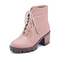 Women's Lace Up Ankle Booties Round Toe Winter Warm Fur Platform Chunky Heel Western Short Boots              NOTE: Please choose size according to your feet length on our size chart.                SIZE CHART              US ...