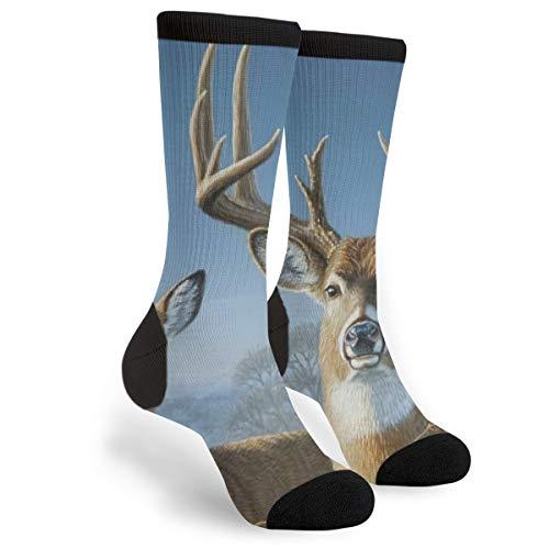 Unisex Fun Novelty Crazy Crew Socks Whitetail Deer Painting Dress Socks -