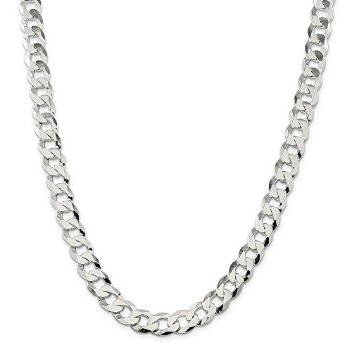 Sterling Silver 11.75mm Close Link Flat Curb Chain Bracelet - 9 Inch by JewelryWeb