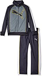 PUMA Little Boys\' Toddler 2 Piece Colorblocked Cat Track Jacket and Pant Set, Smoke Grey, 3T