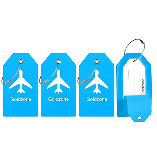 PVC Rubber Luggage Tags w/Full Privacy Flap,Great for Luggage Cases Identification by Goldzone (Blue-4 Pack)