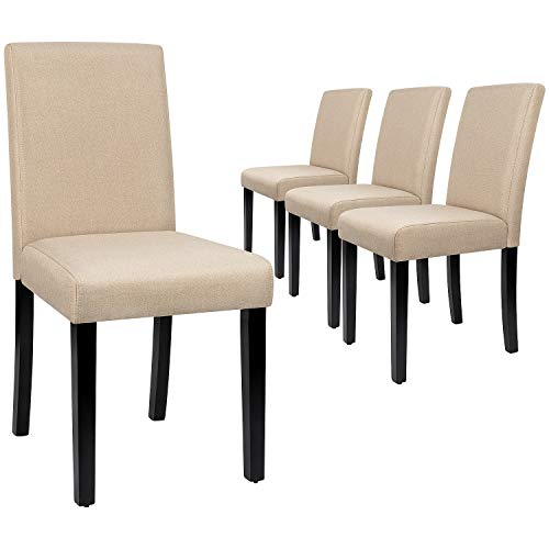 Furmax Dining Chairs Urban Style Fabric Parson Chair Kitchen Livng Room Armless Side Chair with Solid Wood Legs Set of 4 (Beige)