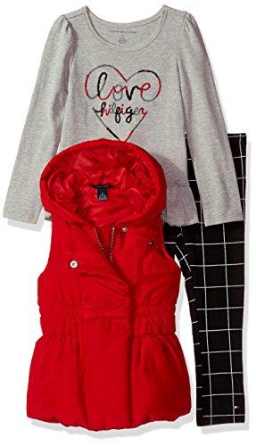 Tommy Hilfiger Toddler Girls' 3 Pieces Vest Set, Red/Grey, 6