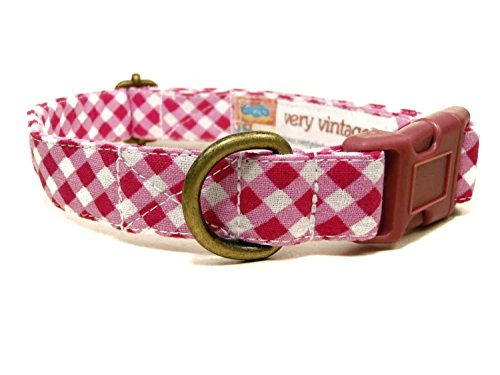 Very Vintage Designs Picnic Plaid - White Dark Pink Gingham Plaid Girly Organic Cotton Pet Collar - Handmade in the USA