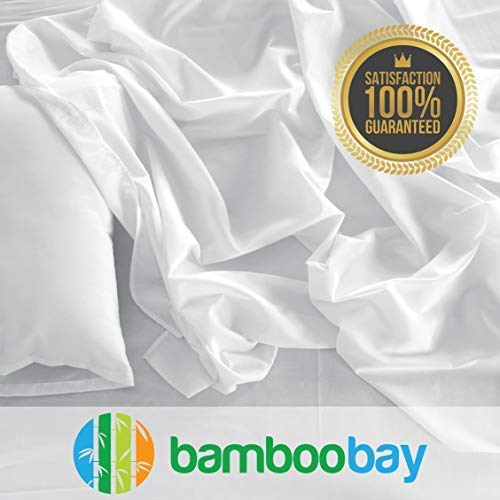 Bamboo Sheets | Durable 100% Viscose from Bamboo Sheet Set | Soft, Breathable and Cool | No-Slip Fitted Sheet, Extra Deep Pocket | Hypoallergenic, Eco-Friendly and Sustainable (King, - Sheet Bay Set
