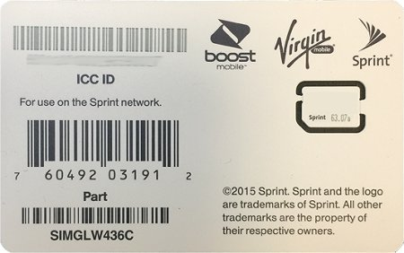 Sprint UICC ICC Nano SIM Card SIMGLW436C - iPhone 5c, 5s, 6, 6 Plus, 6S, 6S Plus, 7, 7 Plus, SE, iPad Air, iPad Air 2