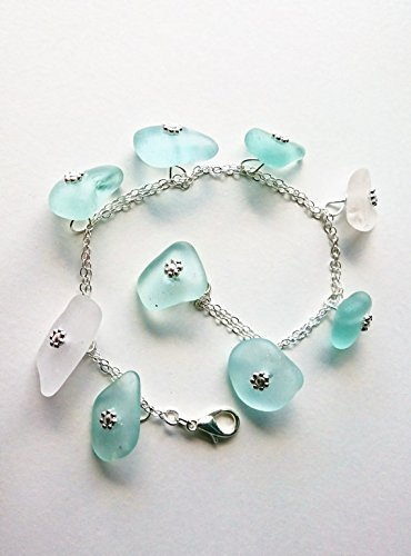 bddb40fcb3e71 Amazon.com: Sea Glass Bracelet, Bangle Bracelet, Blue Sea Glass ...