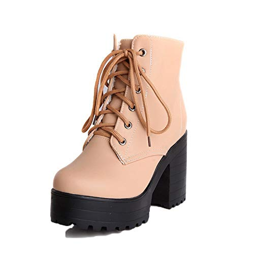 Lace TSDXH115244 High Up Heels AalarDom Color Round Assorted Toe Women's Boots Pu Beige tqUwUz8nPx