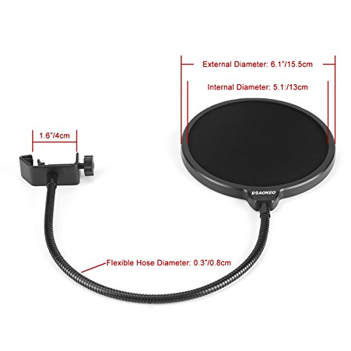 Aokeo Professional Microphone Pop Filter Mask Shield With A Clip Stabilizing Arm For Awesome Premium Recordings - Image 4