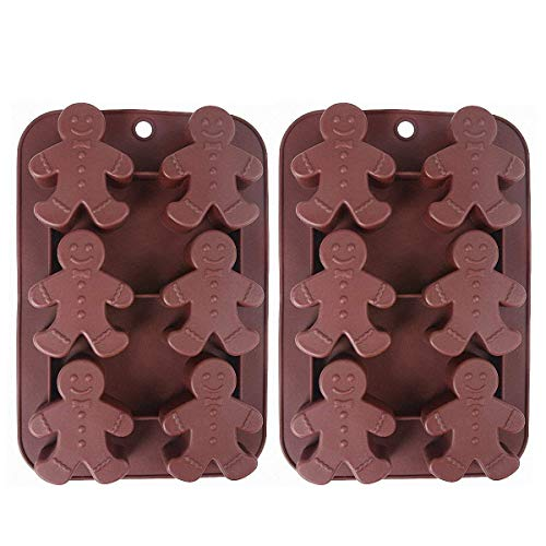 2-Pack Christmas Gingerbread Man Molds - MoldFun Silicone Mold for Baking Gingerbread Cake Muffin Cookie, Making Chocolates Ice Cubes Jello Shots Soaps Lotion Bar Bath Bomb (Random Color) ()
