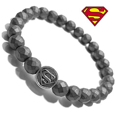 KarmaArm Superman Bracelet | Supergirl Superhero Comic-Con Cosplay Wristband | Faceted Hematite Jewelry (6)]()