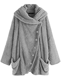 Womens Faux Fur Sherpa Jacket Buttons Cowl Neck Loose Fleece Coat with Pockets