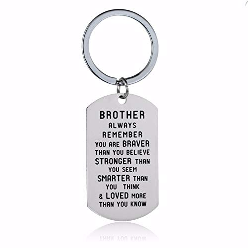 Daesar Womens Stainless Steel Keychain Charm Engraved Brother/Sister Remember You are Brave Inspirational Keychains for Women