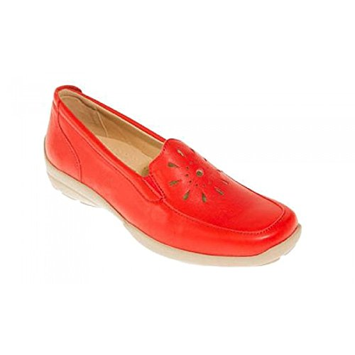 DB GALWAY stylish and comfortable ladies loafer in EE fitting. Red Leather