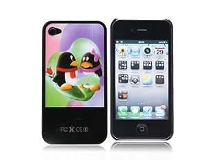 Lindo Tencent QQ Boy y el patrón Mobile flash plástico cubierta de la caja Protetcor Girl para iPhone 4G