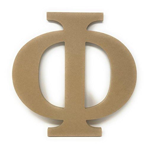 "Phi Letters - 12"" Wooden Greek Letter Phi Unfinished Greek Wooden Letters for Greek Fraternity / Sorority Paintable 12"