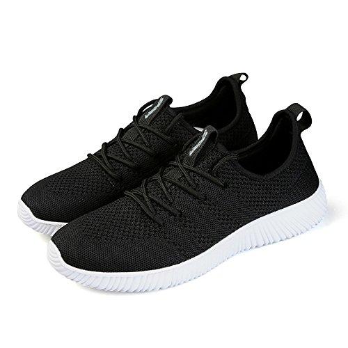 Knit Sneaker Laufschuhe Herren Damen Luftdurchlässige Schuhe Leichte und Bequeme Gr. 35-45 Schwarz