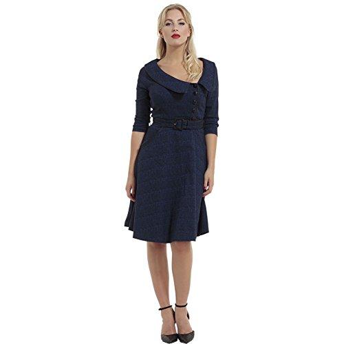 Voodoo-Vixen-Lily-Textured-Super-Stretch-Flare-Dress-Blue