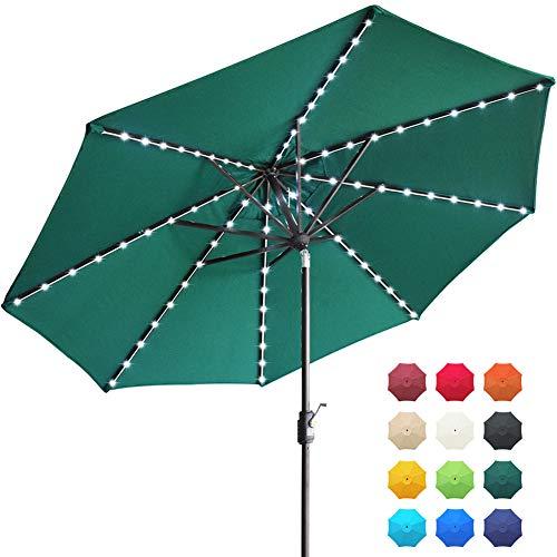 EliteShade Solar Umbrellas Sunbrella 9ft Market Umbrella with 80 LED Lights Patio Umbrellas Outdoor Table Umbrella with Ventilation and 10 Years Non-Fading Guarantee (Sunbrella LED Forest Green)