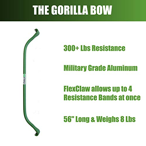 Gorilla Bow Portable Home Gym Resistance Band System | Weightlifting & HIIT Interval Training Kit | Full Body Workout Equipment (Heavy Green) by Gorilla Fitness (Image #3)