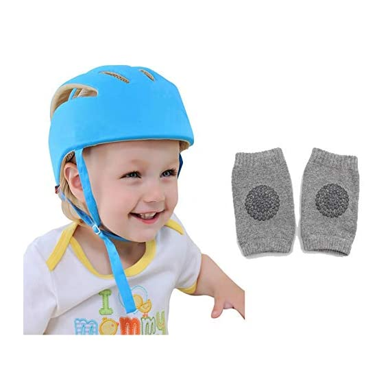 DearJoy Baby Safety Helmet with Corner Guard & Proper Ventilation + Kneepads (Blue)