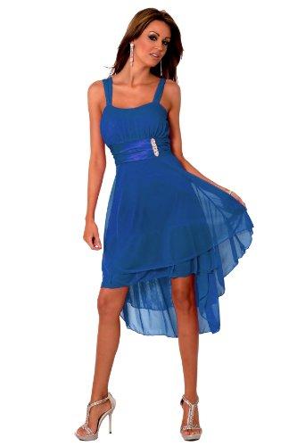 H1376 kobaltblau Designer Satin Sheer Gesammelt Layered knielangen Abend-Cocktailparty-Abschlussball-Kleid Brautjungfer [Color Cobalt Blue UK SIZE Medium (10-12) DEUTSCHLAND SIZE (38-40)]