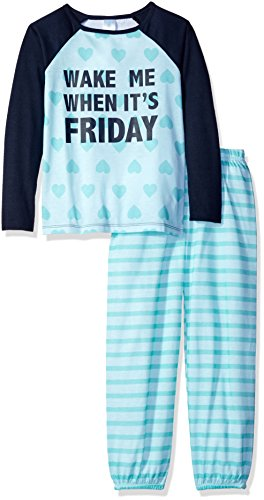 The Children's Place Little Girls' Long Sleeve Top and Pants Pajama Set, Friday/Crystal Mint 65471, X-Small/4