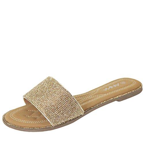 ANNA Womens Open Toe Jeweled Rhinestone Trim Flip Flops Slipper Slide Sandals Shoes 8.5 Gold (Rhinestone Slide Trim)