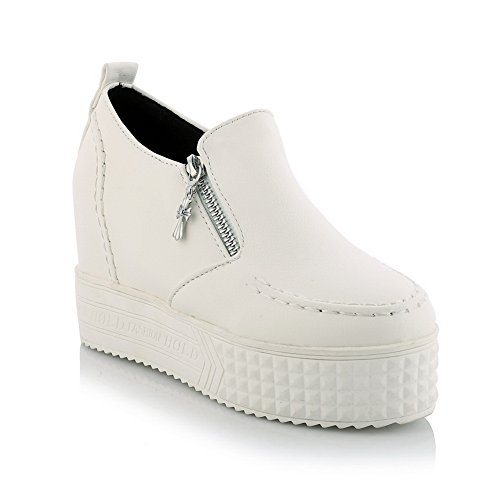 BalaMasa donna senza tacco solido imitato in pelle pumps-shoes, Bianco (White), 35