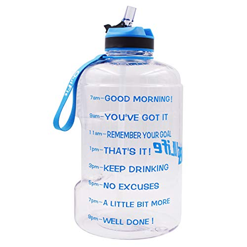 QuiFit Gallon Sport Water Bottle Wide Mouth with Straw Lid Easy Sipping 128/73/43 Ounce Motivational Time Marker Encourage You Drinking Enough Water Throughout The Day (73 Ounce Clear-Blue)