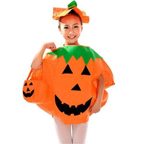 Costume Hi Hats (Multifit Kids Halloween Pumpkin Costume with Hat&Candy Bag Costume)